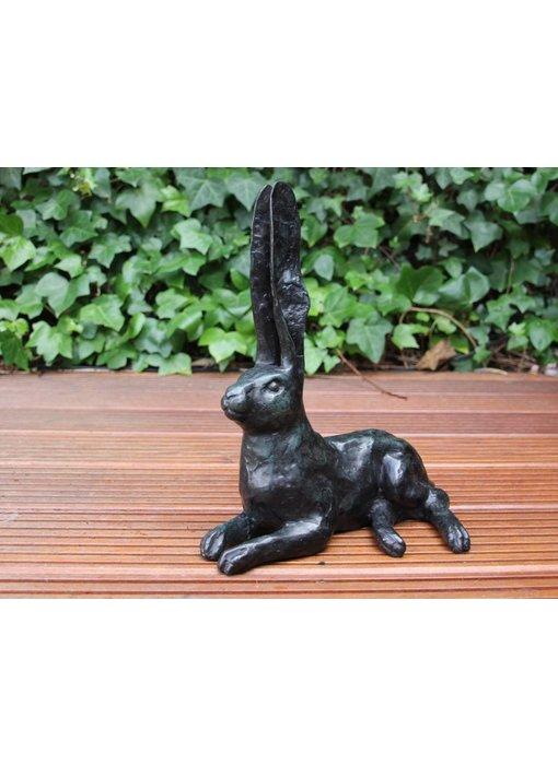 Bronze-Skulptur Hase - grün patiniert