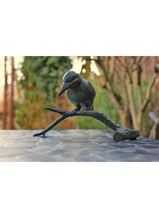 Bronze kingfisher on branch, green finish
