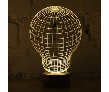 Bulbing Light Bulb illusion in 2D, table lamp
