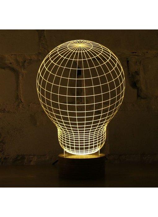 Bulbing Light Bulb illusion in 2D, table lamp