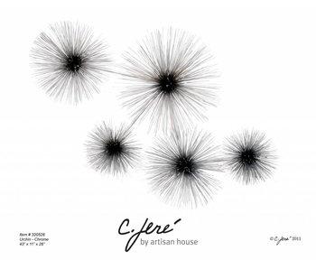 C. Jeré Urchin Chroom wandsculptuur C. Jeré