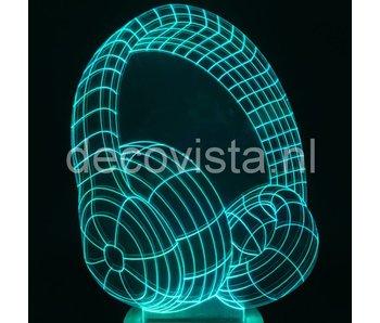 Table lamp in 2D headphone design