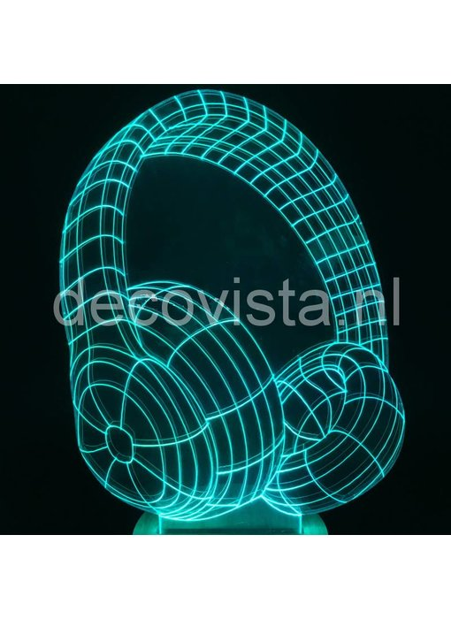 Table lamp  gadget in headphone design, with R/C