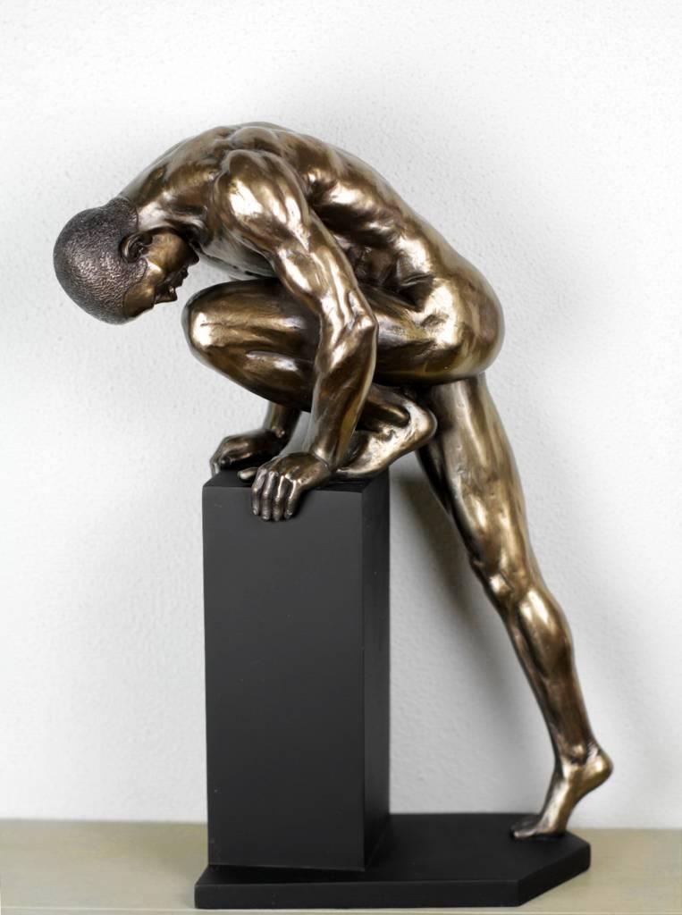Bodytalk Stretching Nude Athlete Bodybuilder Sculpture