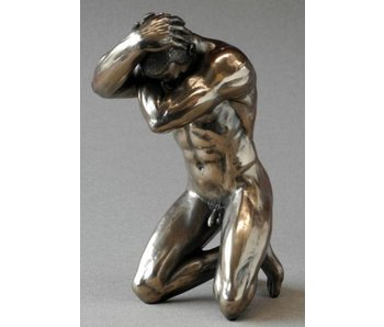 BodyTalk Bodybuilder, patinated bronze sculpture