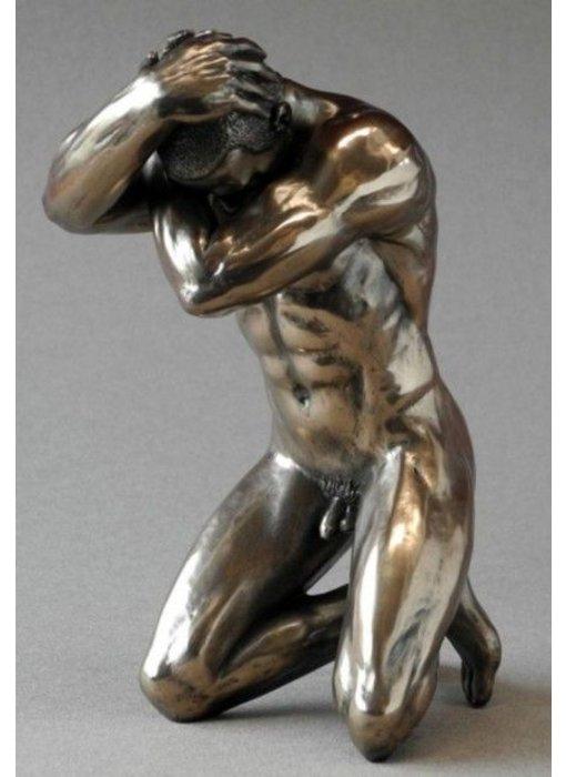 BodyTalk Bodybuilder, patinated bronze sculpture