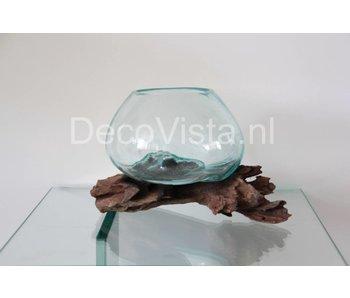 Schale auf Holz, Glas auf Stumpf Holz