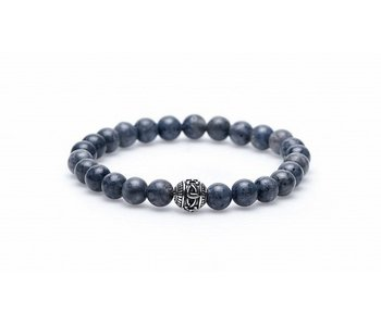 Karma Armband Blue Coral Silver met bedel - Unisex