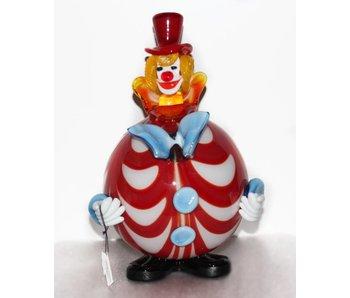 Vetri di Murano Clown met ronde buik rood/wit - muranoglas