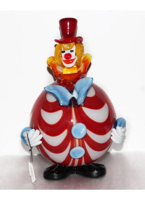 Vetri di Murano Clown mit runden Bauch rot/weiß - Murano-Glas