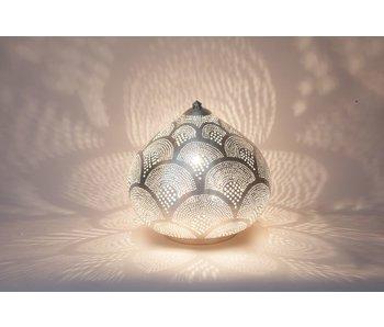 Zenza Orientalische filigrane Tischleuchte Princess Fan Silver - S