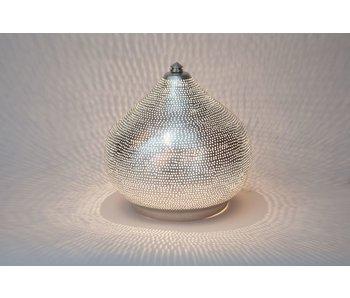 Zenza Orientalische filigrane Tischleuchte Filiski Silver - L