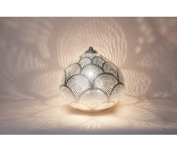 Zenza Oriental filigree table lamp Princess Fan Silver - L