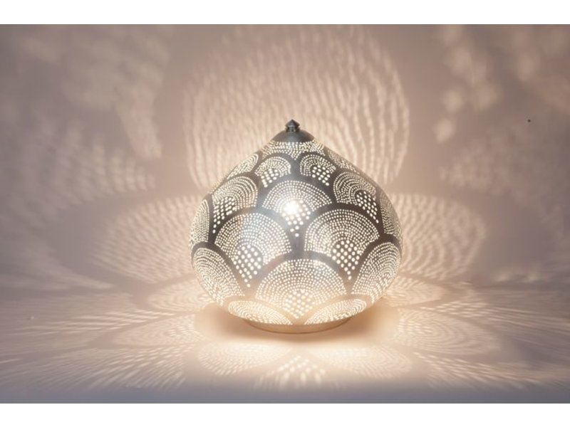 Zenza zenza oriental filigree table lamp from egypt princess fan silver