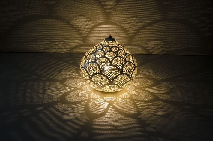 Zenza Oriental filigree table lamp from Egypt Princess Fan Silver - L ...