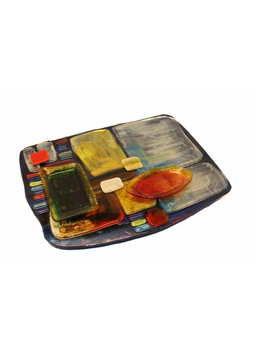Tapas plate, finger food plate with dip bowls, glass - L