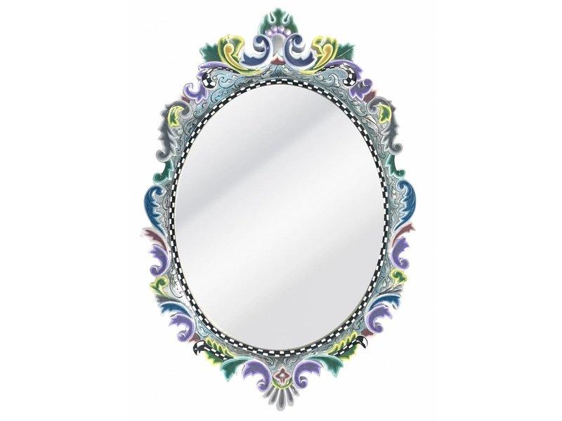 Toms Drag Ovale wandspiegel Versailles - Silver Line, ovaal ronde spiegel met gekleurde lijst