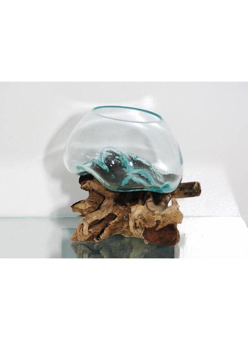 Bowl op hout, glas op stronk - F