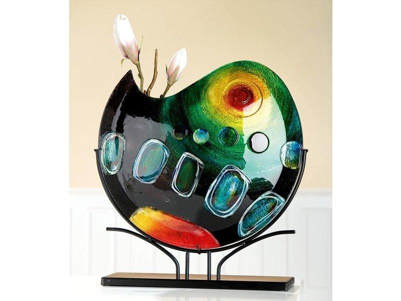 Eldig Design Glasvase  auf schwarzen Ständer