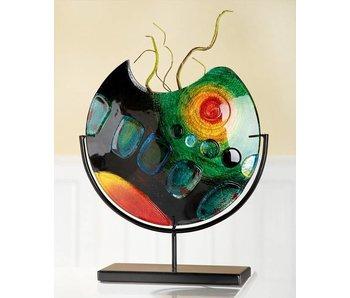 Gilde GlasArt Design glass vase Sunrise on stand - M