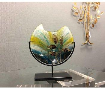 Gilde GlasArt Design glass vase Gold Leaf on stand - M