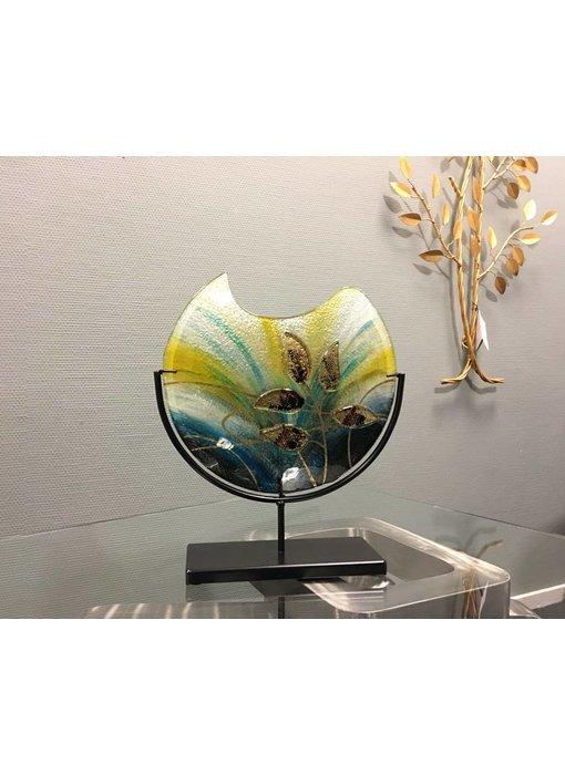 Eldig Design glass vase Gold Leaf on stand - M