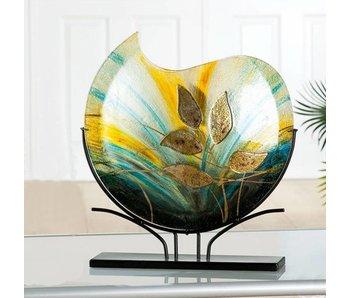 Gilde GlasArt Design glass vase Gold Leaf on stand - L