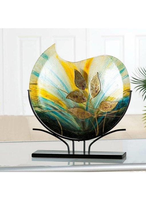 Eldig Design glass vase Gold Leaf on stand - L