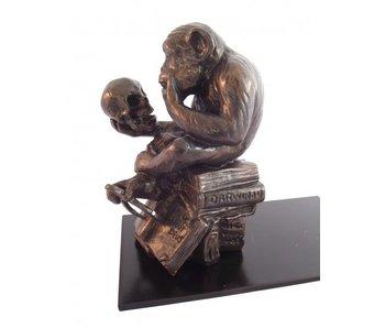 Mouseion Buchstütze Affe mit Schedel  18,5 cm