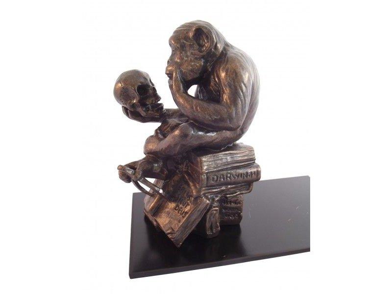 Mouseion Buchstütze Affe mit Schedel (The Darwin monkey)