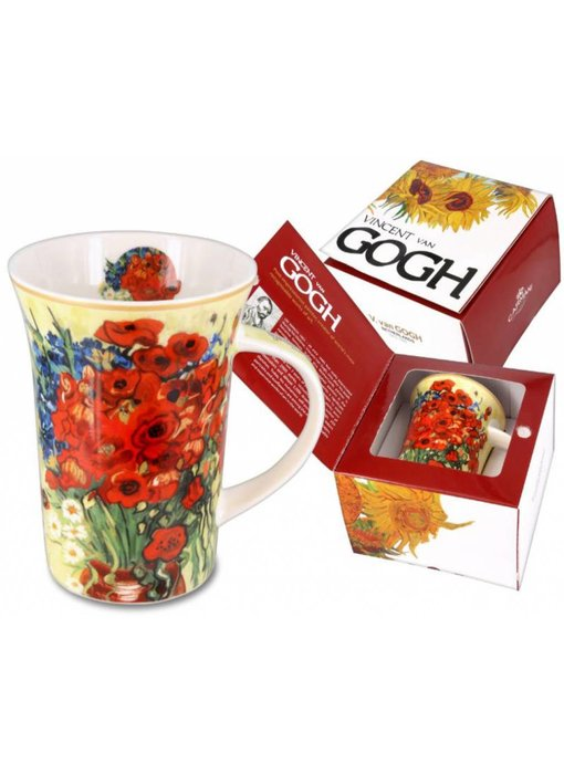 Carmani Mug, porcelain - Poppies and Daisies Van Gogh