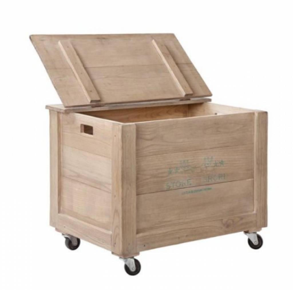 storebror opbergkist op wielen hout bruin box lock rustiek storebror aanbieding kopen. Black Bedroom Furniture Sets. Home Design Ideas