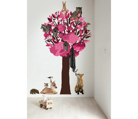 KEK Amsterdam Wall Decal / Coat Pink 120x220cm Forest Tree Friends XL wall film