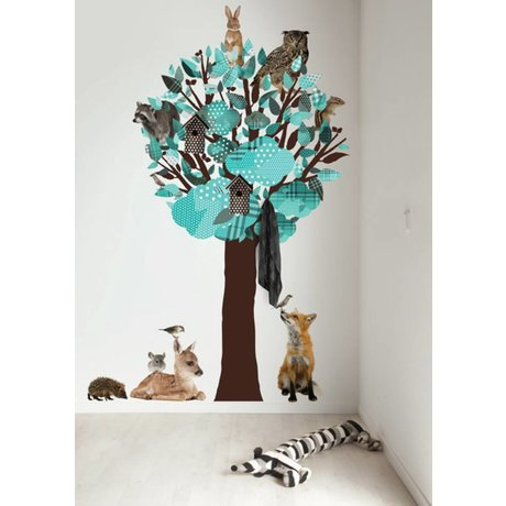KEK Amsterdam Wall Decal / Coat Turquoise 120x220cm Forest Tree Friends XL wall film