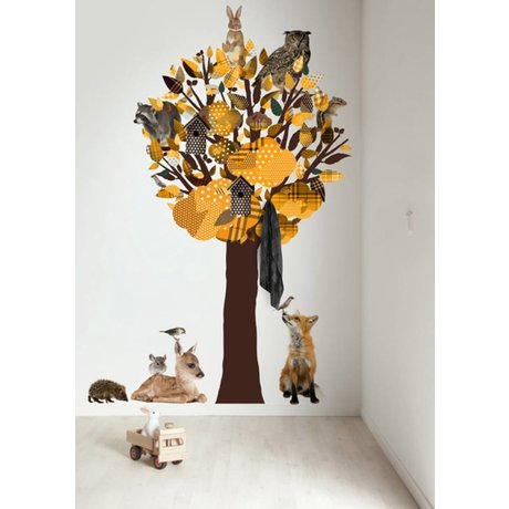 KEK Amsterdam Wall Decal / Coat Yellow 120x220cm Forest Tree Friends XL wall film