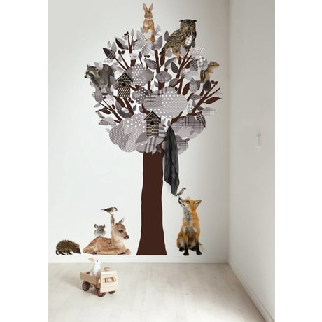 KEK Amsterdam Wandtattoo / Coat grau 120x220cm Wald Tree Friends XL Wandfilm