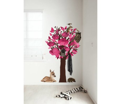 KEK Amsterdam Wall Decal / Coat Pink 95x150cm Forest Friends Tree wall film