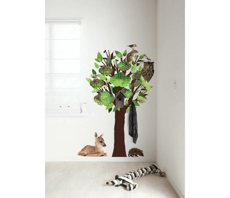 KEK Amsterdam Wall Decal / Coat Green 95x150cm Forest Friends Tree wall film