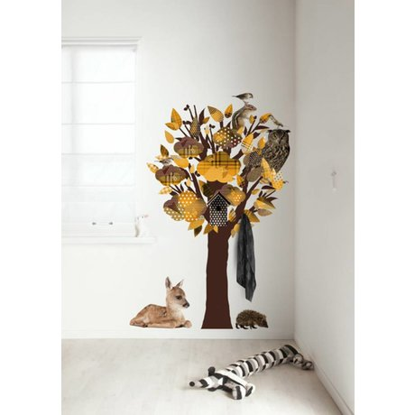 KEK Amsterdam Wandtattoo / Coat Yellow 95x150cm Forest Friends Baum Wandfilm
