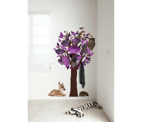 KEK Amsterdam Wall Decal / Coat Purple 95x150cm Forest Friends Tree wall film