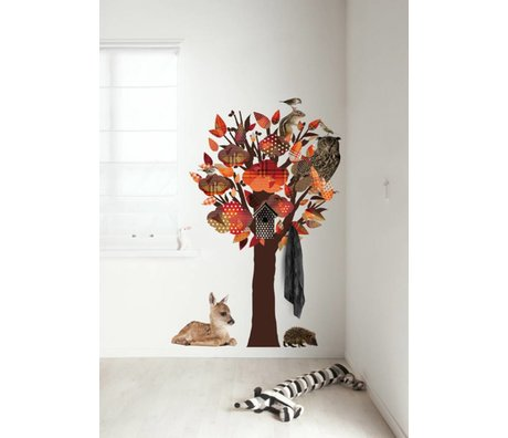 KEK Amsterdam Wandtattoo / Coat orange 95x150cm Forest Friends Baum Wandfilm