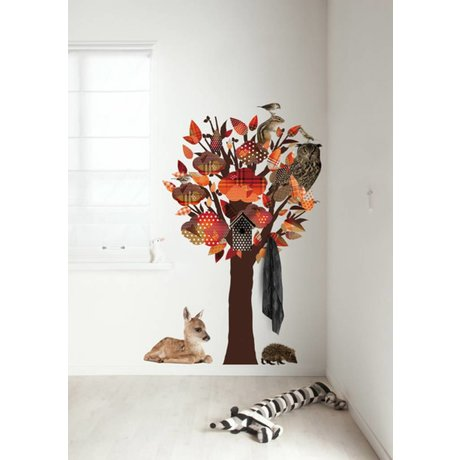 KEK Amsterdam Wall Decal / Coat Orange 95x150cm Forest Friends Tree wall film