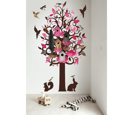 KEK Amsterdam Wall Decal / Coat Pink 120x220cm Birdhouse Tree XL wall film