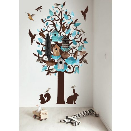 KEK Amsterdam Wall Decal / Coat Turquoise 120x220cm Birdhouse Tree XL wall film
