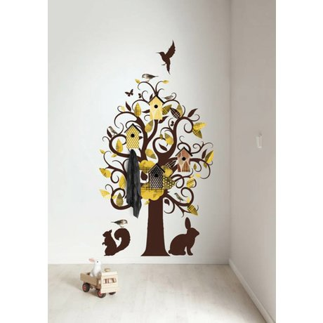 KEK Amsterdam Wall Decal / Coat Yellow 95x150cm Birdhouse Tree wall film