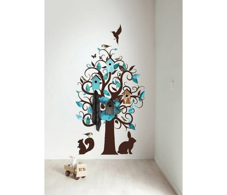 KEK Amsterdam Wall Decal / Coat turquoise 95x150cm Birdhouse Tree wall film
