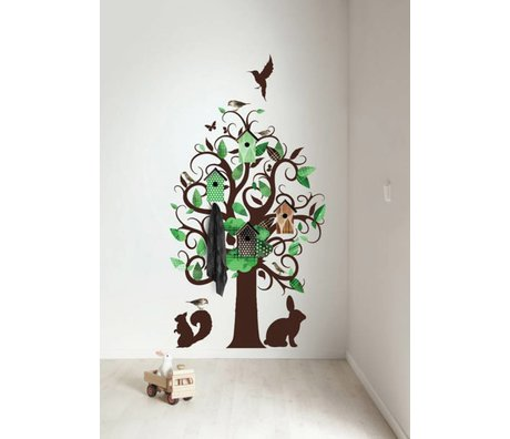 KEK Amsterdam Wall Decal / Coat Green 95x150cm Birdhouse Tree wall film