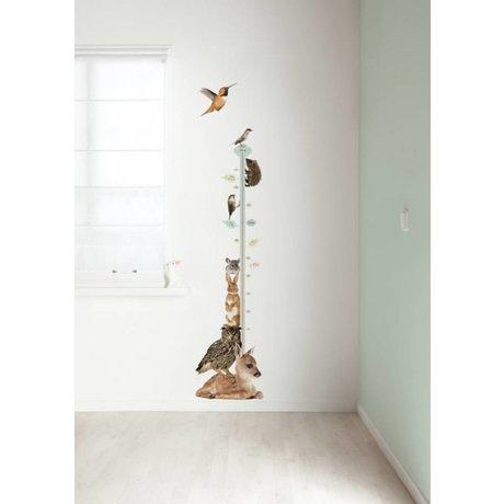 KEK Amsterdam Muursticker groeimeter multicolour 40x150cm Forest Friends Growth Chart 1 muurfolie