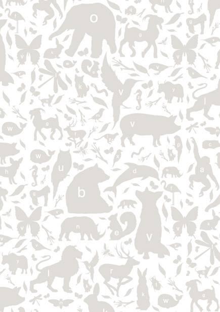 Kek amsterdam behang grijs wit alfabet beestjes 146 1 x 280 cm 4m - Grijs behang ...