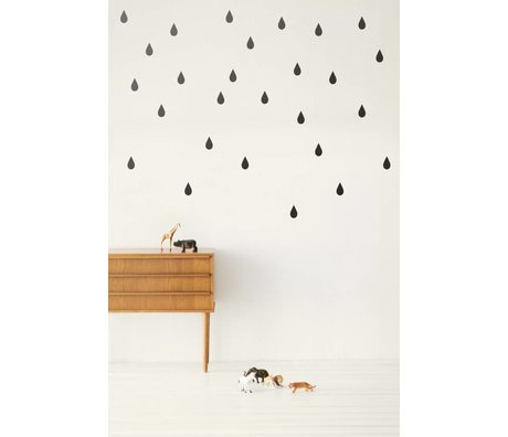 Ferm Living Wall Decal Wall Stickers drops - Mini Drops Black
